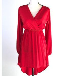 EVERLY RED LONG SLEEVE FAUX WRAP HI LOW DRESS